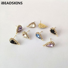 New arrival! 17X10mm 100pcs  Rhinestone With claw chain Earrings Studs for Necklace,Earrings parts,hand Made Jewelry DIY