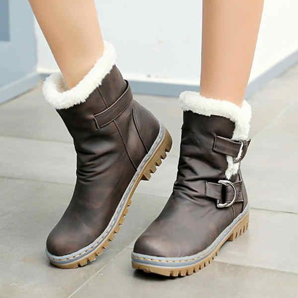 Botas de nieve Puimentiua 2019 zapatos de invierno botas de mujer hebilla de lana decoración sólido señoras botas de tobillo cálido grueso suela botas