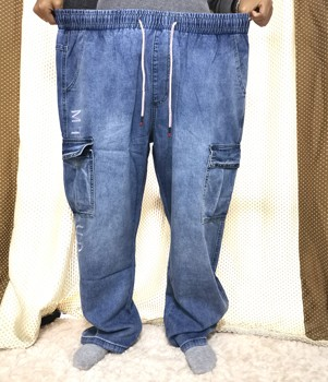 Ανδρικό jean φαρδύ με πολλαπλές τσέπες μεγάλης χωρητικότητας και μεγέθη έως 7xl