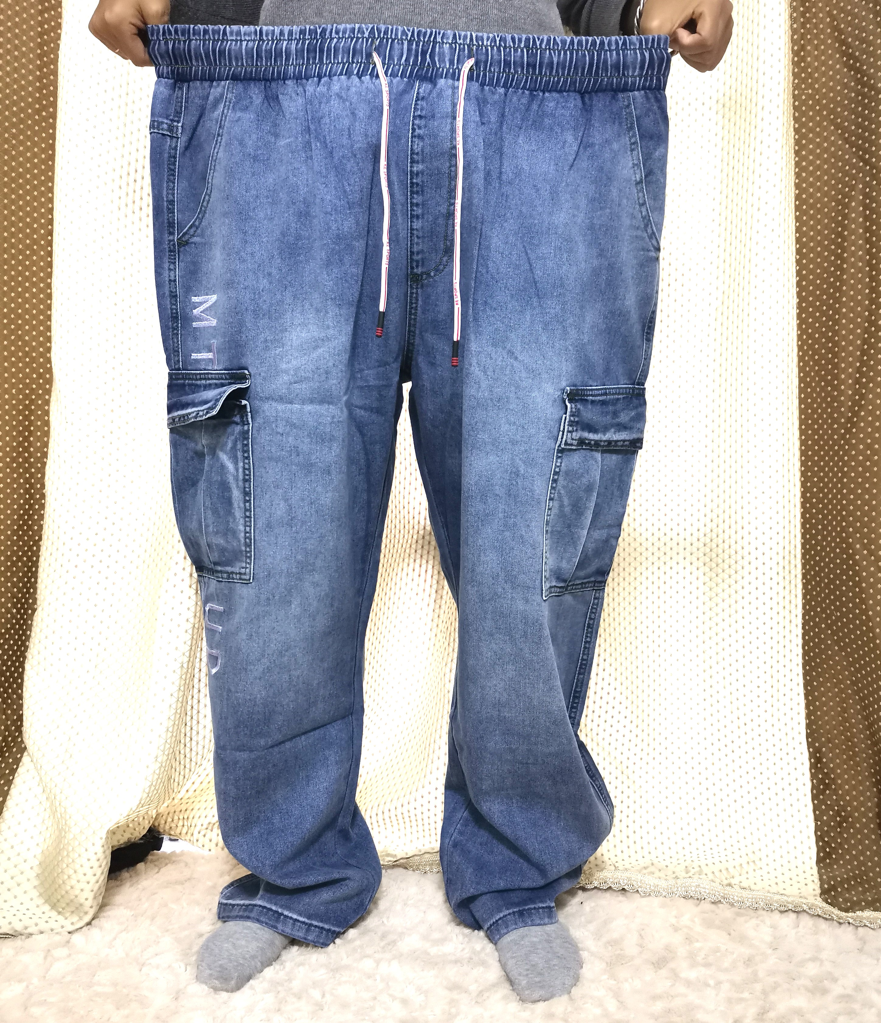7XL Men's Denim Cotton Stretch Casual Jeans Overalls Clothing Fat Large Big Size Pants Multi-pocket Drawstring Blue Trousers