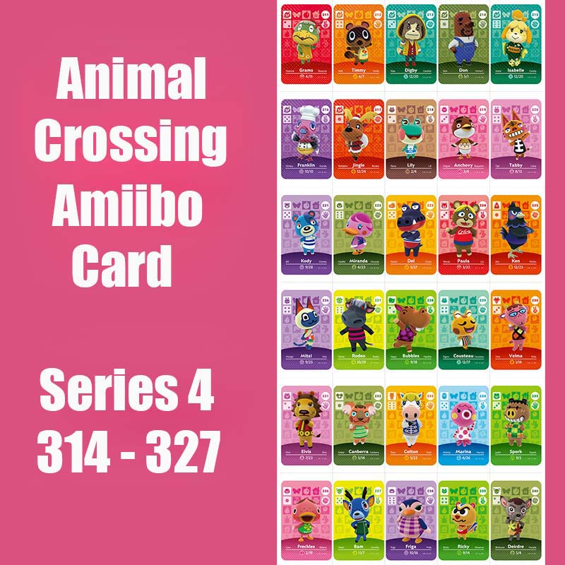 Series 4 #314-326 Animal Crossing Card Amiibo Card Work For NS 3DS Switch Game Series 4 Dropshipping Animal Crossing Amiibo Card
