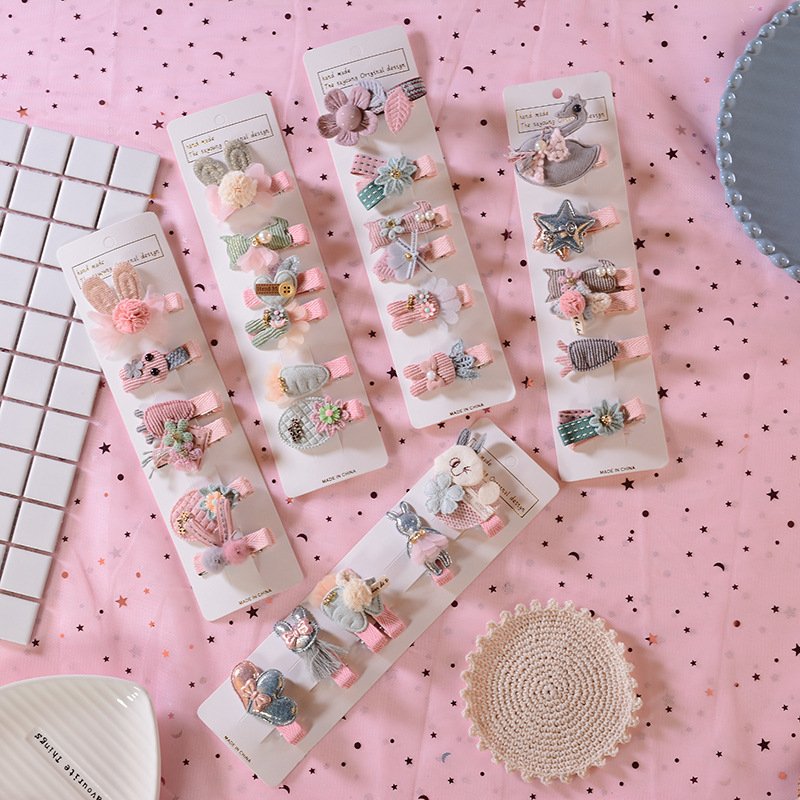 6pcs/set New Winter Fabric Children Hair Clips Cute Cartoon Hairpins Girls Bunny Star Flower Shape Headwear Hair Accessories