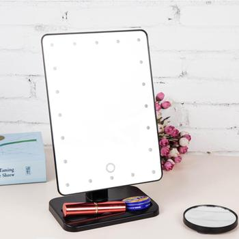 10X Magnifier LED Touch Screen Makeup Mirror Portable 20 LEDs Lighted Cosmetic Adjustable Vanity Tabletop Countertop frameless vanity mirror with light hollywood makeup lighted mirror 3color light cosmetic mirror adjustable touch screen 58 46cm
