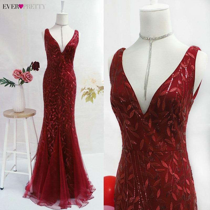 Burgundy Evening Dresses Ever Pretty EP07886 V-Neck Mermaid Sequined Formal Dresses Women Elegant Party Gowns Lange Jurk 2020 4