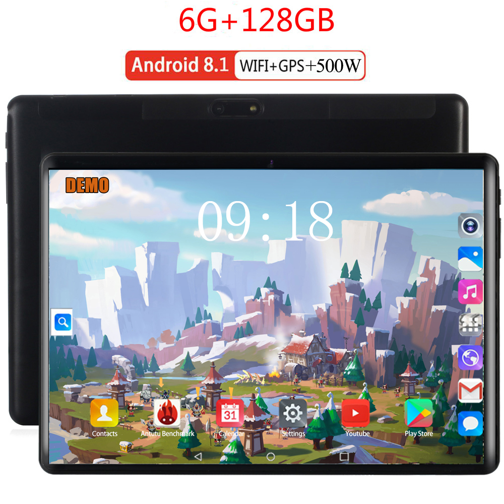 6000mAH Android 8.0 2.5D Screen Tablet Pcs 10.1 Inch 4G Phone Tablet PC 8 Octa Core RAM 6GB ROM 128GB Tablets Kids Tablet FM GPS