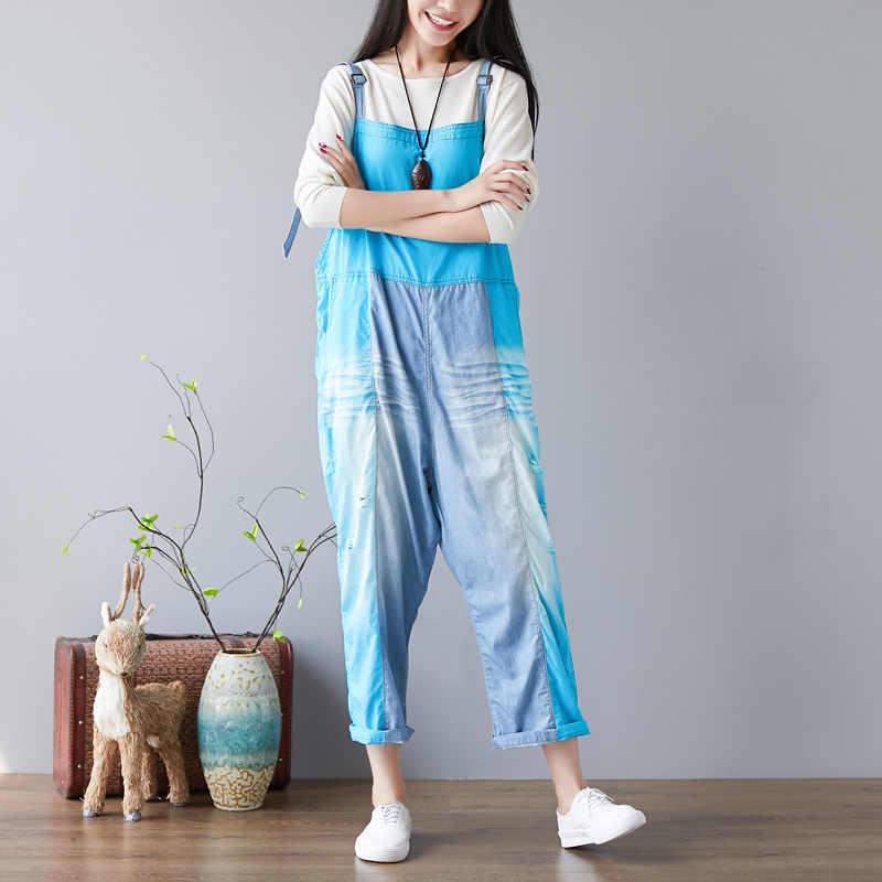 女性バギードロップ股デニムジャンプスーツゆったりヒップホップロング貨物全体パンツボーイフレンド色混合サスペンダーカジュアルロンパース