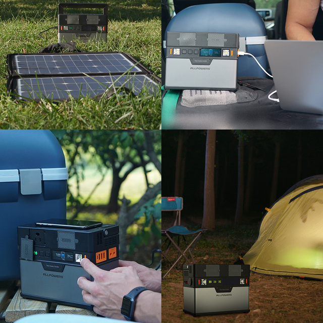 ALLPOWERS Portable Power Station 372Wh Lithium Battery Solar Generator with Solar Panel 100W Backup Supply 110V 220V AC Outlet. 6