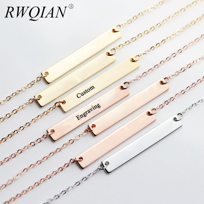 Personalized Pendant Necklace Engraved Chain Necklace For Women Stainless Steel Custom Name Necklaces  Jewelry Free Shipping