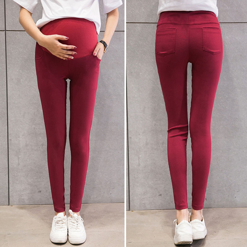 Skinny Maternity Pants For Pregnant Women Clothes Stretch Pencil Pants  Belly Slim Was Thin Feet Pants Spring Wear 7 Colors
