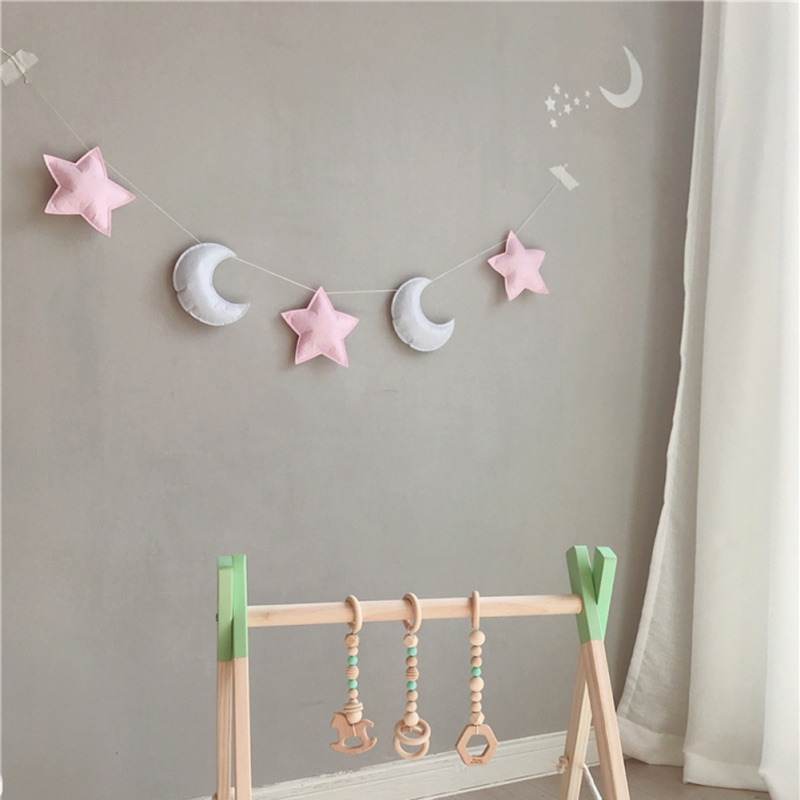 Nordic Felt Stars Moon String Star Garland Party Banner Tent Bed Mat Baby Shower Bunting Ornament Kids Room Hanging Wall Decor