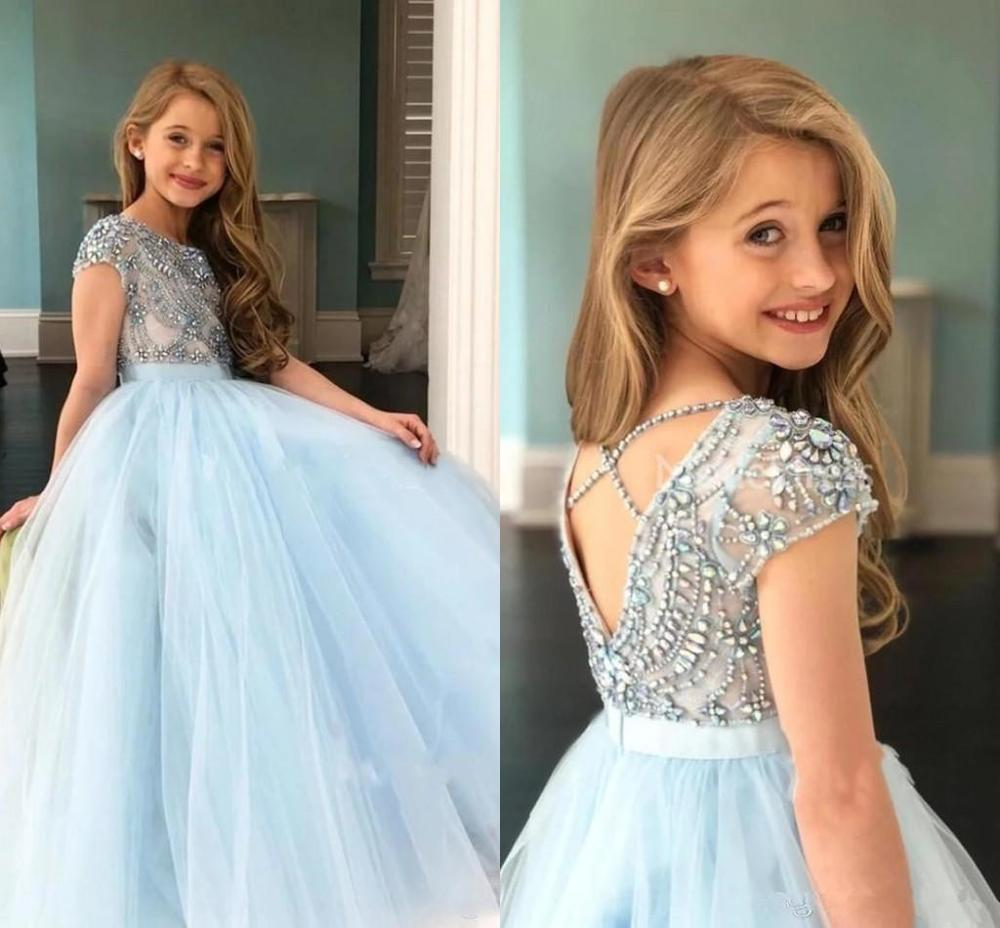 Sky Blue Girls Pageant Dresses Rhinestones Beaded Top Sheer Cap Sleeve Ribbon Belt Flower Girls Dress Kids Birthday Gown