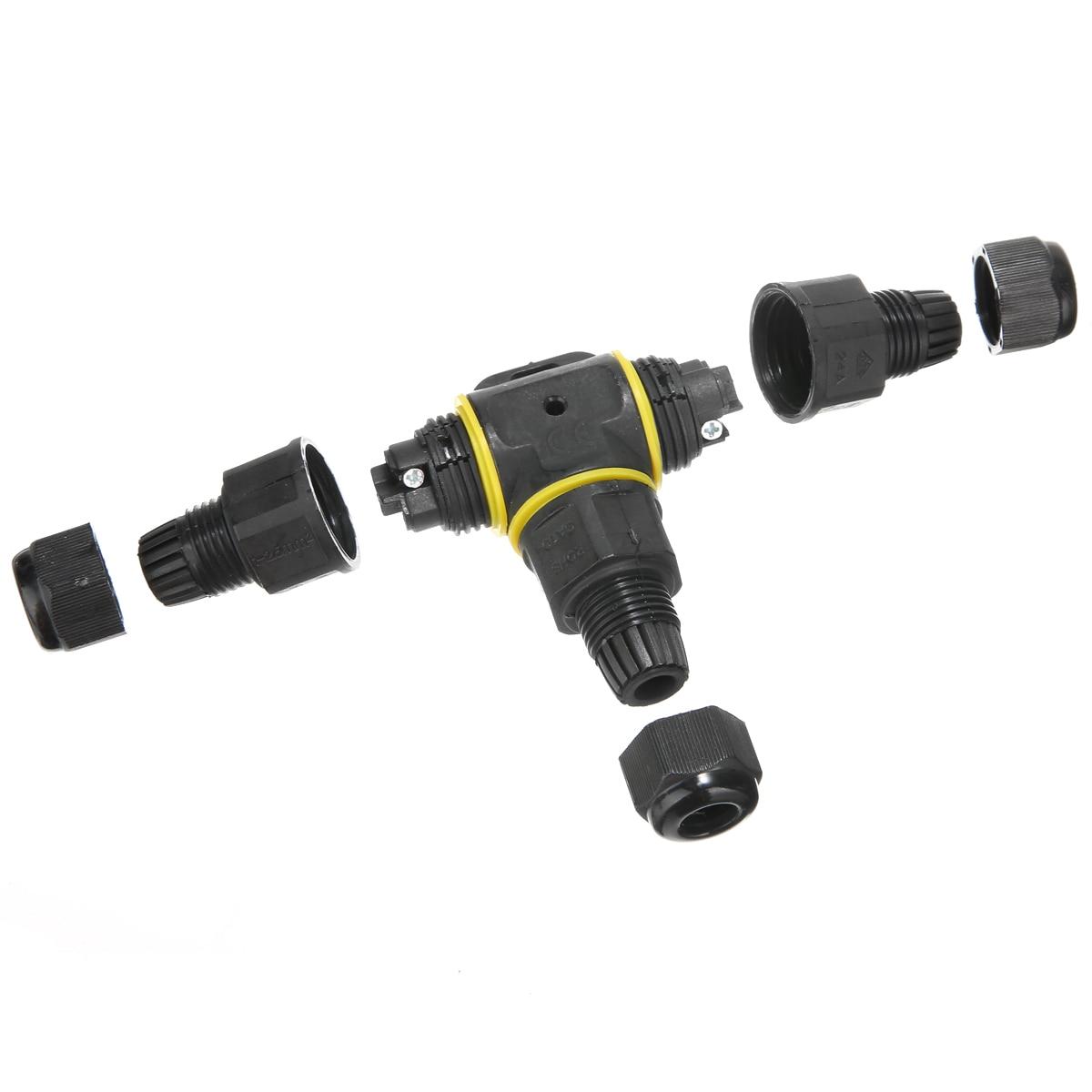3 way IP68 waterproof cable connector splitter electrical outdoor power lighting