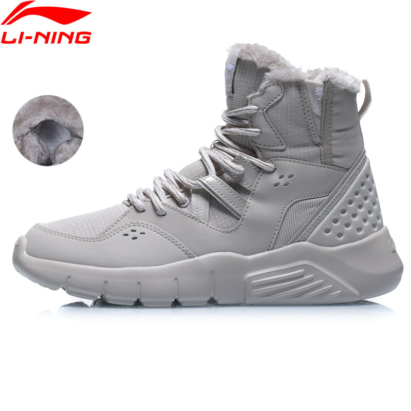 Li-Ning Women LN SNOW BOOTS 2019 High Tops Shoes Fleece Warm LiNing Li Ning Sport Lifestyle Ankle Boots Shoes AGCP176 YXB337