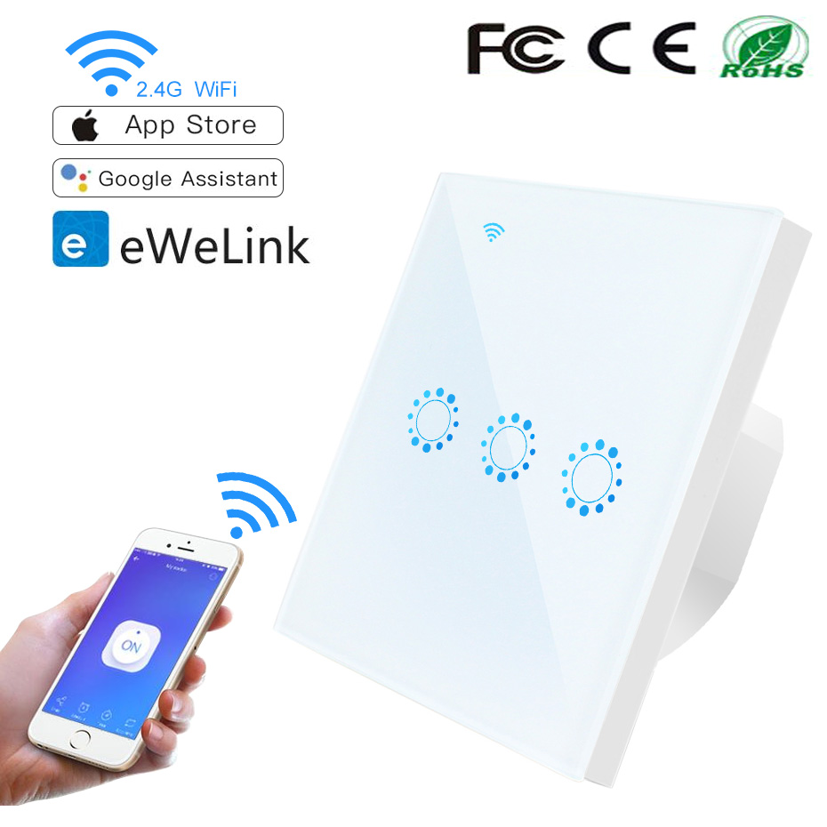 Wifi Smart Switch/APP Remote Switch EU Standard 90V-250V AC 1/2/3 gang Single Repeat Timer Function Work with Alexa Google Home