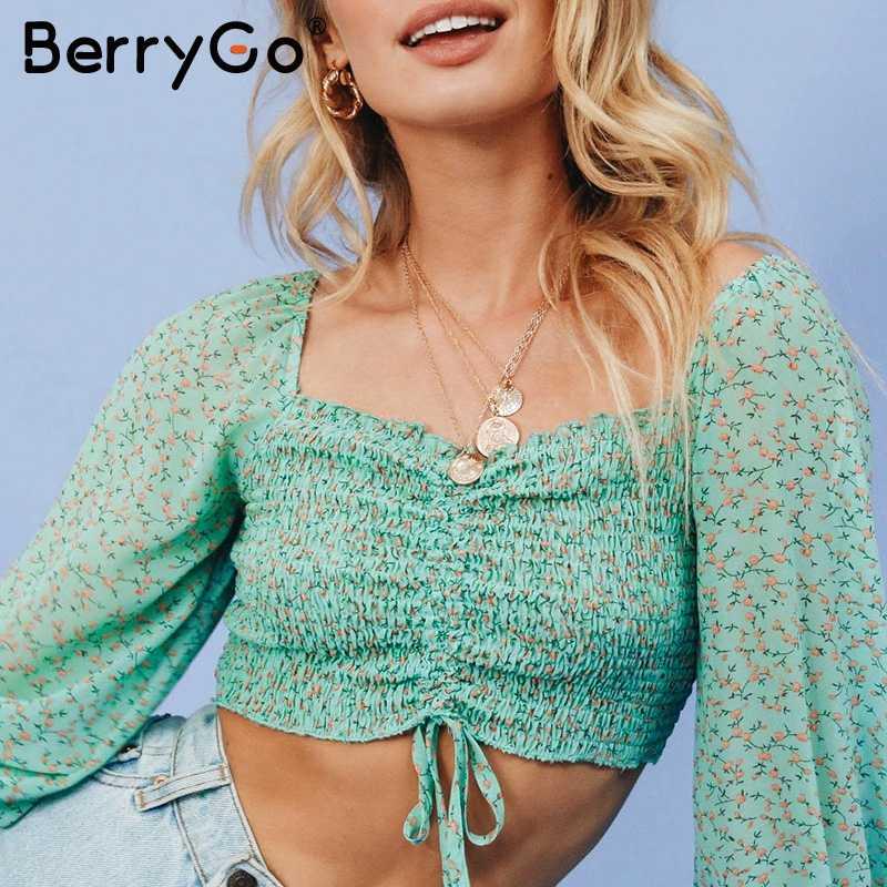 BerryGo אלגנטי תחרה למעלה שיפון חולצה חולצה נשים שרוול פנס נשי קצר חולצות סתיו חג flroal הדפסת גבירותיי חולצות