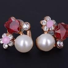 Women Gold Plated Crystal Pearl Flower Stud Earring Purple Rhinestone Earrings Ear Lady Charm Jewelry