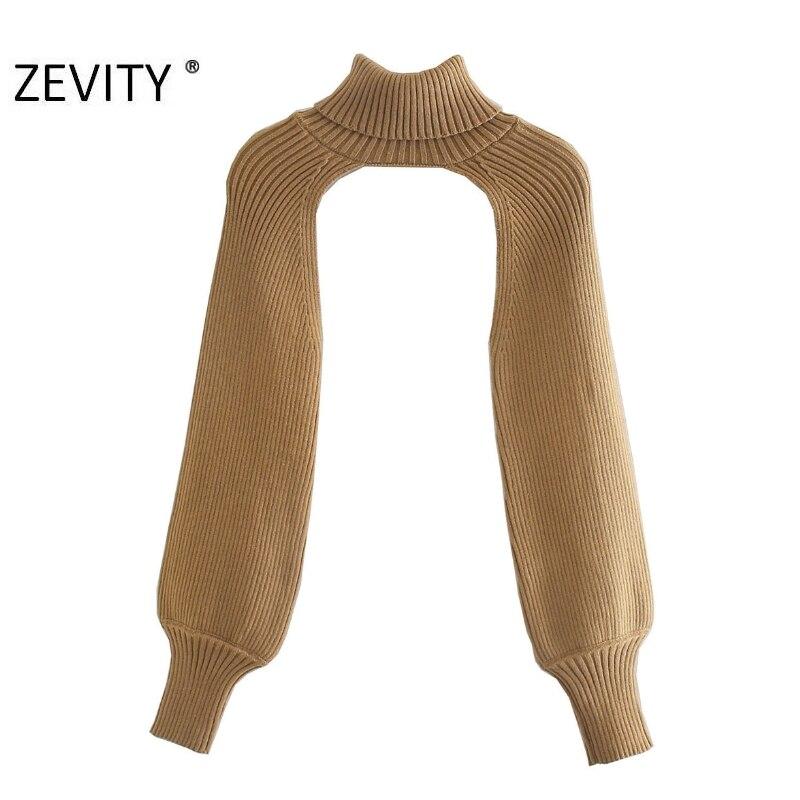 Zevity Neue Frauen Rollkragen Kragen langarm Stricken Pullover Femme Chic design Casual Pullover High Street Damen Tops S434