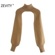 Zevity-suéter de punto de manga larga con cuello alto para mujer, Jersey informal de diseño elegante, Tops de calle alta para mujer S434