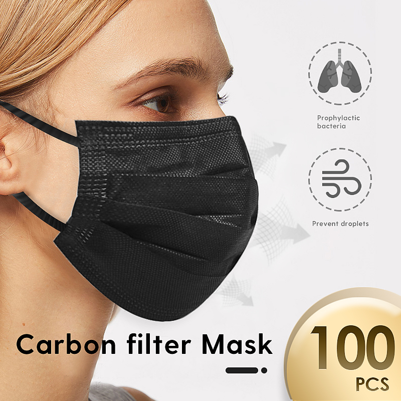 100pcs Non-woven Mascarillas Protective Mask Disposable Masks Anti-Dust 4 Crbon Filter Mouth Face Mask Earloop Protection