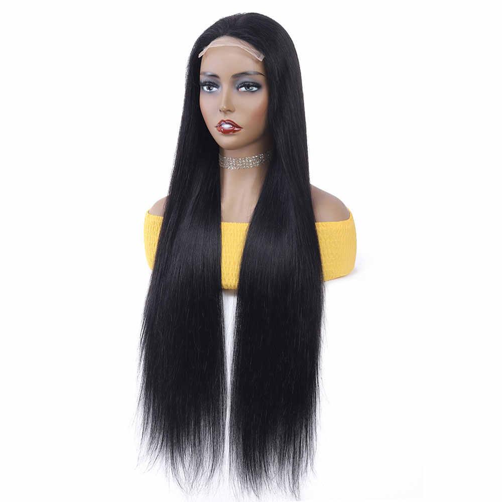 TIANTAI 28 pollici parrucca Chiusura 4x4 Veletta Nella Chiusura Del Merletto Dei Capelli Umani Parrucca Parrucche Lungo Rettilineo Parrucche Per donna Brasiliana di Remy 150 Densità