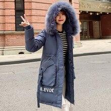 Winter Jacket Woman 2019 Women's Fashion Big Pocket Down Cotton Padded Parkas Coats Female Thick Warm Hooded Fur Collar Overcoat цены онлайн