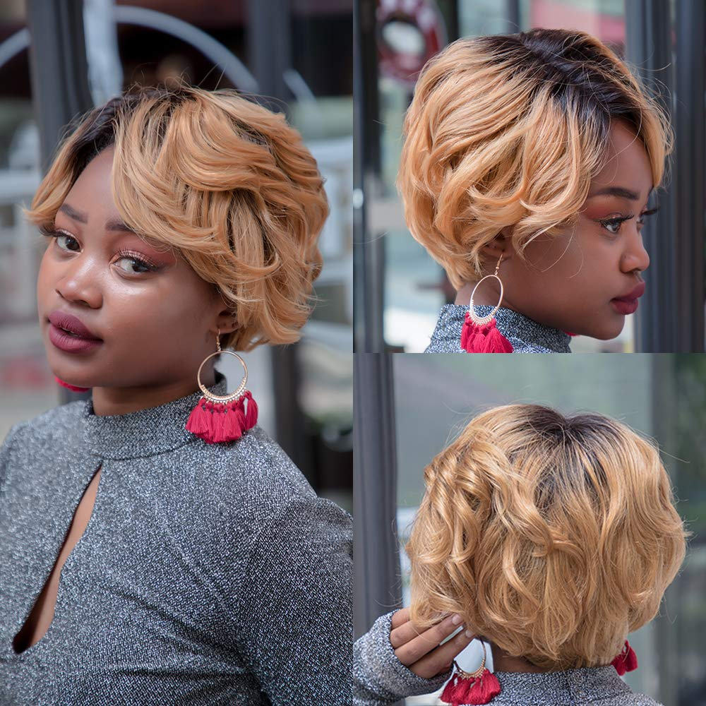Pixie perucas de cabelo humano, corte de