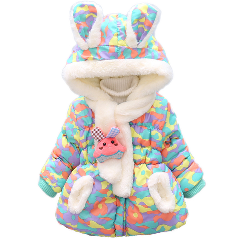 Bibihou Winter Cute Rabbit Baby Jacket Thick Cotton-Padded Baby Girl Outerwear Infant Baby Boys Parka Toddler Girls Snow Wear