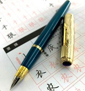 Image 1 - Wing Sung pluma estilográfica 601A, bolígrafo de tinta azul oscuro, tapa dorada F Nib, papelería, suministros escolares, escritura