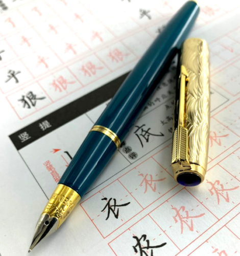Wing sung 601A vacumatic万年筆固体ダークブルーインクペン波黄金キャップf先文房具オフィス学用品書き込み
