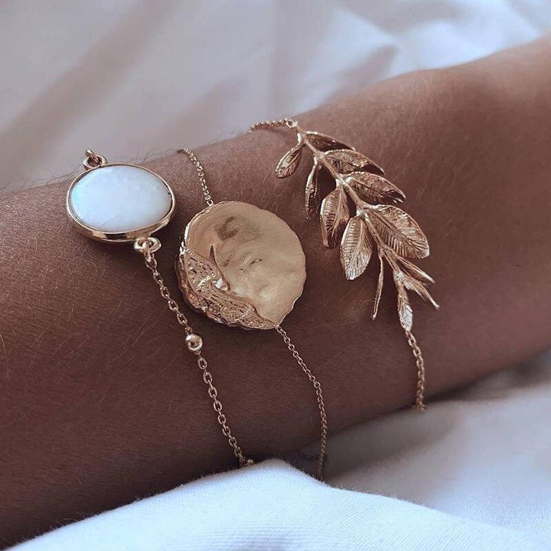5Pcs/set Bohemian Gold color Moon Leaf Crystal Opal Open Bracelet Set for Women Punk Boho Beach Bangle Jewelry Gift 19