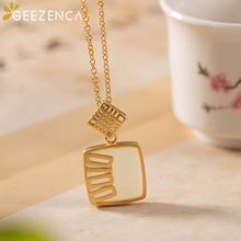 925 Sterling Silver Hetian jade Gold-plated Pendant Necklace Simple Geometric Pendant Set Fine Jewelry for Women Trendy Gift kjjeaxcmy fine jewelry 925 sterling silver plated white gold ring pendant deep amethyst necklace set ladies two piece suit