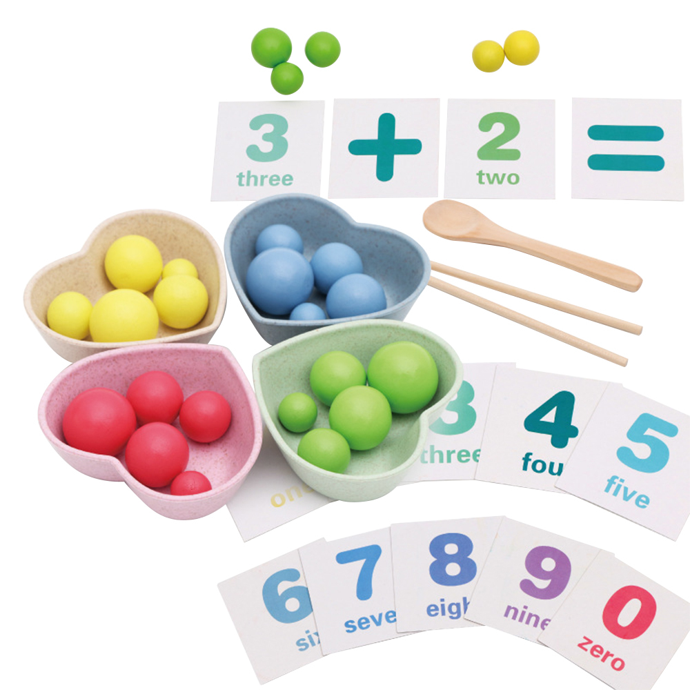 Newest Kids Math Educational Toys Kits Kids Early Learning Toys Children Use Spoon Chopsticks Clip Beads Toys Teaching Aids