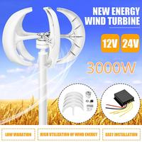 3000W Vertical Axis Wind Turbines Generator Lantern 12V 24V 5 Blades Motor Kit For Home Hybrid Streetlight Use Electromagnetic