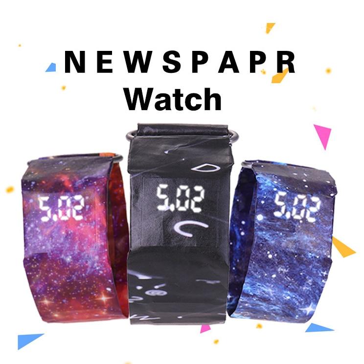 Men LED Watch Waterproof Watch Women Paper Strap Digital Watches Clock Relogio Feminino Relogio Masculino Fashion