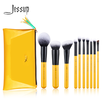 Jessup Brushes Citrus Color 10pcs/set Contour Makeup Brush Synthetic Hair Powder Foundation Blush Eyeshadow Blending new coastal scents 22 pieces makeup brushes make up brush set eyeshadow contour powder contour cream brush tools dhl free shipp
