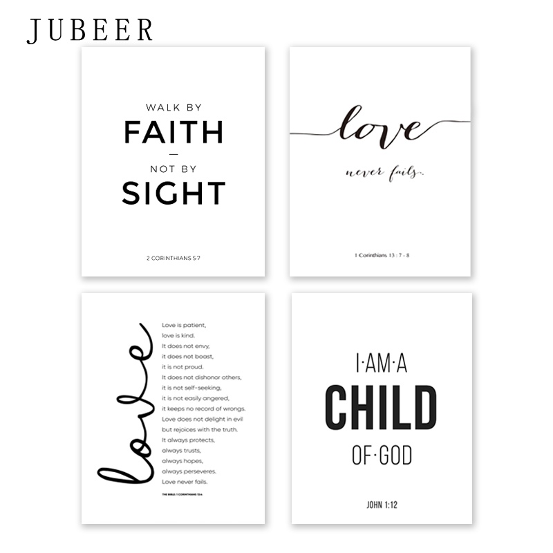 Bible Verse Poster and Prints Love Is Patient Love Is Kind Wall art Print Christian Quotes Canvas Painting Posters on the Wall