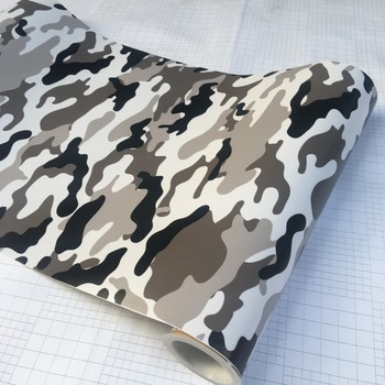 10/20/30/40/50/58x152CMBlack/White Camo Vinyl Film snow Camouflage Vinyl Free Car Wrap Sticker DIY Laptop Scooter Motorcycle image