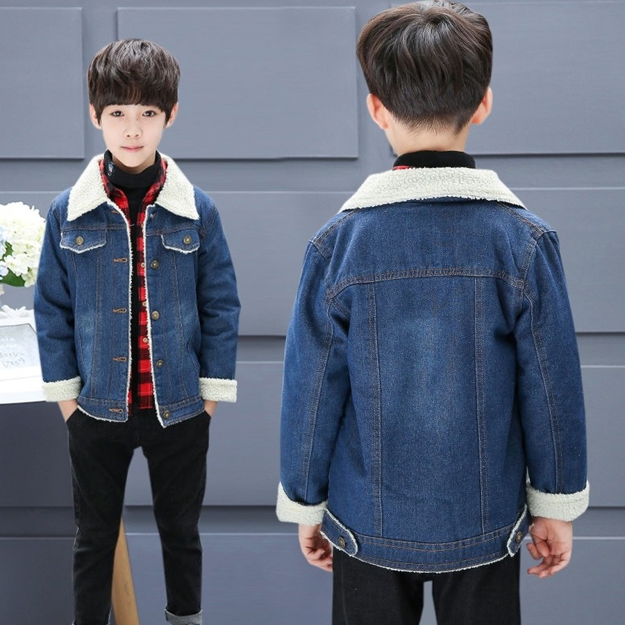 Denim Coat for Boys Winter Thick Warm Jacket Kids Fur Outerwear Children Casual Solid Jean Coats for Teenagers