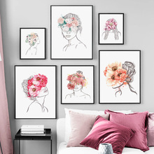 Abstract Line Girl Flower Plant Body Art Nordic Posters And Prints Wall Art Canvas Painting Wall Pictures For Living Room Decor abstract girl line drawing plant leaf wall art canvas painting nordic posters and prints wall pictures for living room decor