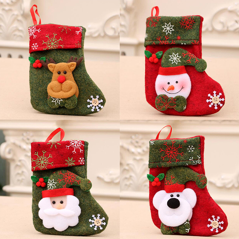 1PC Christmas Stockings Hanging Tree Decoration Ornaments New Year Candy Gifts Xmas Ornament
