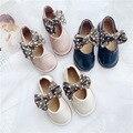 Детская кожаная обувь для маленьких девочек Осенняя Корейская Милая обувь из искусственной кожи с милым бантом танцевальная обувь для дево...