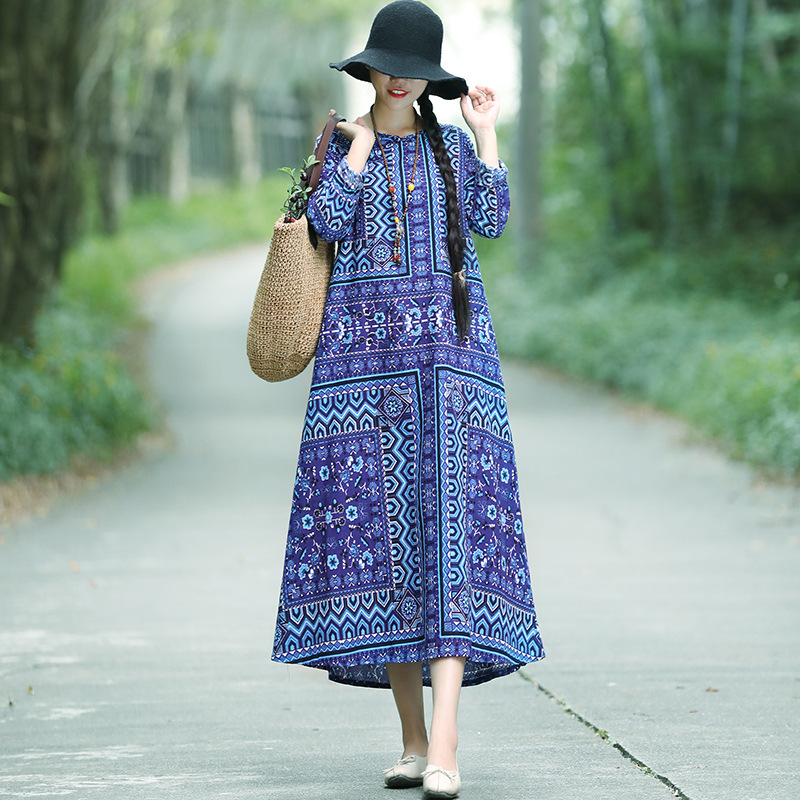 Autumn Clothing New Style Cotton Linen Dress Women's Long-Sleeve Loose-Fit Literature And Art Retro Frog Ethnic-Style Long Skirt
