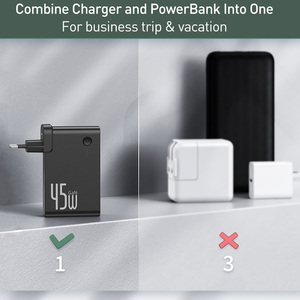 Image 5 - Baseus GaN Power Bank Charger 10000mAh 45W USB C PD Fast Charging 2 in 1 Charger & Battery as One ForiP 11 Pro Laptop ForXiaomi