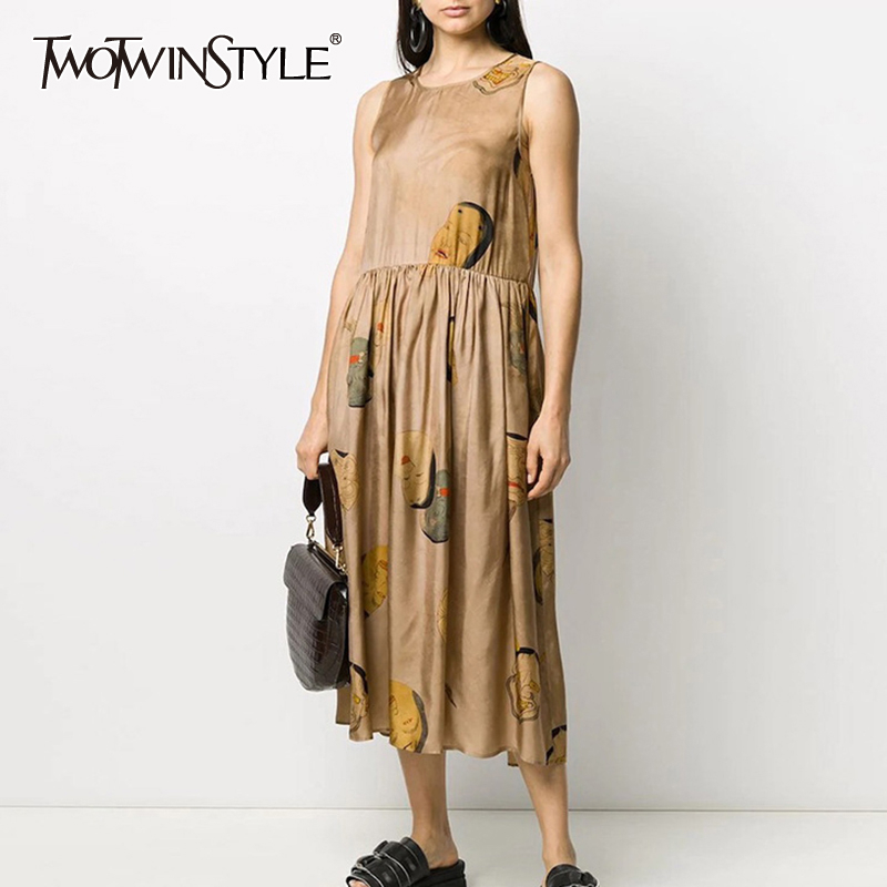 TWOTWINSTYLE Print Hit Color Dresses Female O Neck Sleeveless Tank High Waist Ruched Midi Summer Dress Women Fashion Clothes New