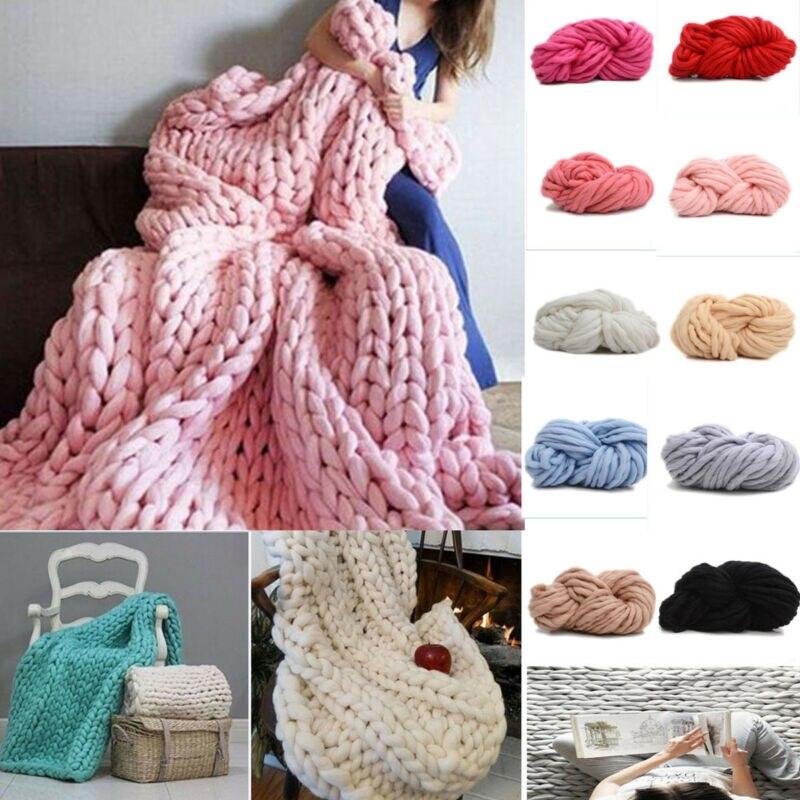 Hot! Chunky Wool Yarn Super Soft Bulky Arm Knitting Wool Roving Crocheting DIY