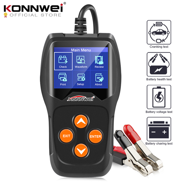 Автомобильный тестер батарей KONNWEI KW600 12 V от 100 до 2000CCA 12 вольт инструменты для быстрой зарядки автомобиля диагностический