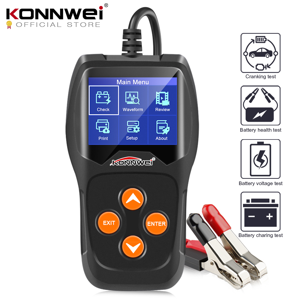 Konnwei kw600 12 v 자동차 배터리 테스터 100 2000cca 12 볼트 배터리 도구 자동차 빠른 크랭크 충전 진단