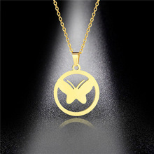 Ins Style Cold Wind Titanium Steel Polished Butterfly Necklace Stainless Golden Clavicle Chain