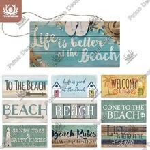 Putuo decoração da praia sinais de suspensão placa de madeira do verão placa de parede sinais de madeira para casa de praia decoração bar barraca de praia decoração