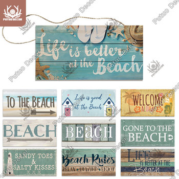 Putuo Decor Beach Signs Hanging Plaque Summer Wood Wall Wooden for House Decoration Bar Tent - discount item  40% OFF Home Decor